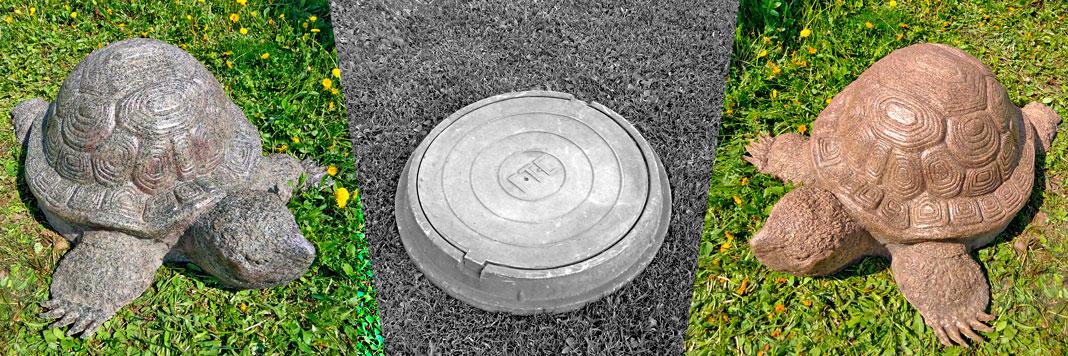 Каменные черепахи на люк